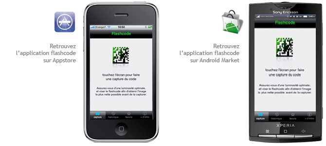 L'application flashcode disponible sur Iphone et Android